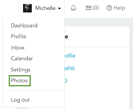 Select your name in the upper right corner of your Rover account, then select Photos from the dropdown menu.