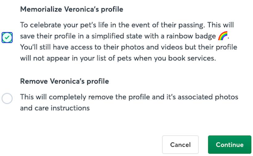 Marca la casilla debajo de Guardar el perfil de la mascota como recuerdo, luego selecciona Continuar