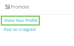 Under Promote, select Share Your Profile.
